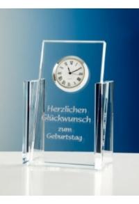 Glas-Trophäe mit Uhrwerk I, 17 cm